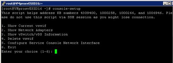 Использование Console-setup в vmware esx