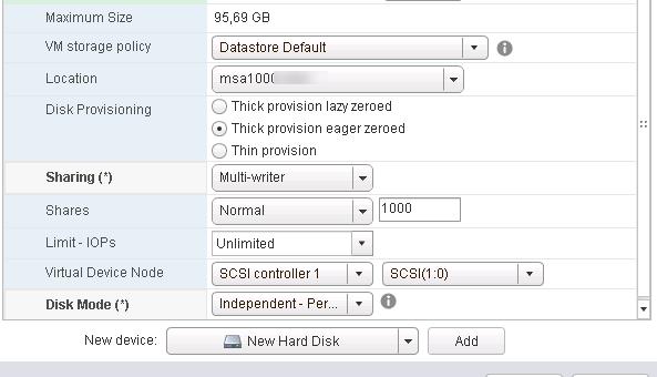 Общий доступ к VMDK диску с двух виртуальных машин VMware ESXi