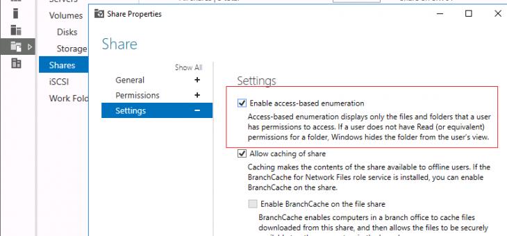 Настройка Access Based Enumeration (ABE) в Windows Server 2016