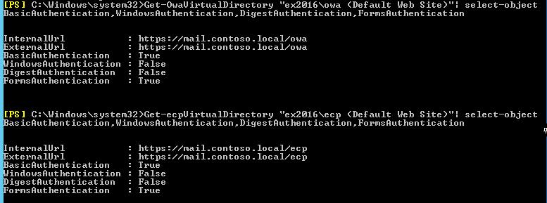 "Get-OwaVirtualDirectory ""ex2016\owa (Default Web Site)"""