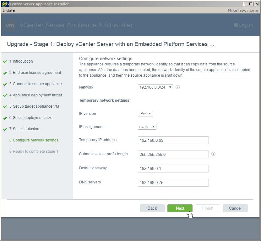 сетевые насройки vcenter server