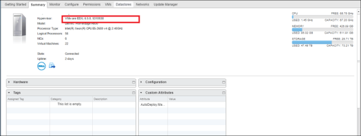 Как узнать версию сборки ESXi с помощью Web Client (6.5)