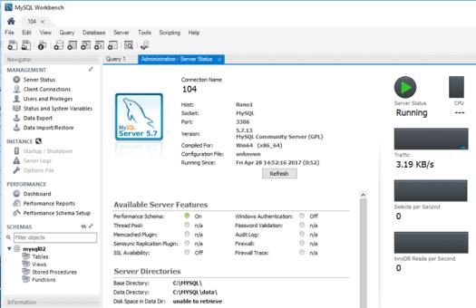 управление базой из MySQL Workbench