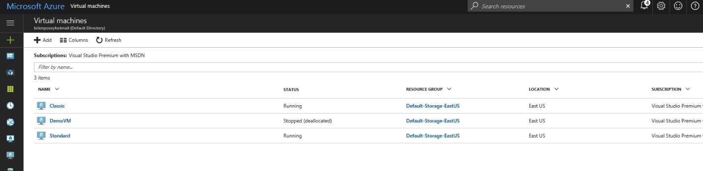 список ВМ на портале Azure