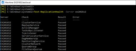 Test-ReplicationHealth -Server ex2016s2