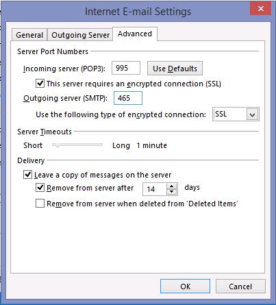 настройки POP3 и SSL