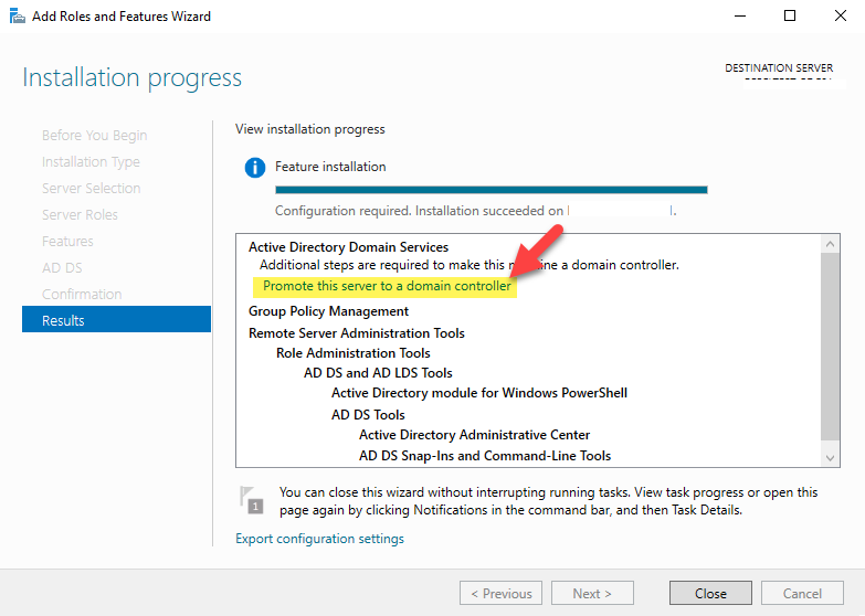 Promote this server to a domain controller