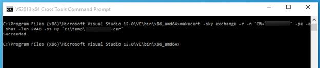 "makecert -sky exchange -r -n ""CN=RootCertificateName"" -pe -a sha1 -len 2048 -ss My ""RootCertificateName.cer"""