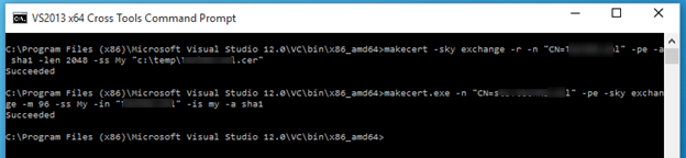 """makecert.exe -n """"CN=ClientCertificateName"""" -pe -sky exchange -m 96 -ss My -in """"RootCertificateName"""" -is my -a sha1"""