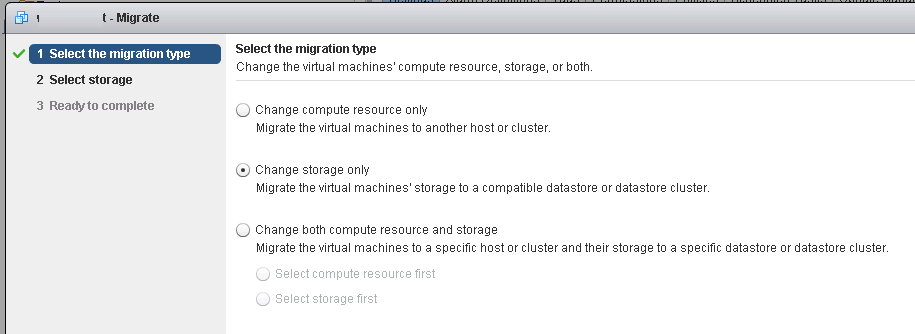 Change storage only