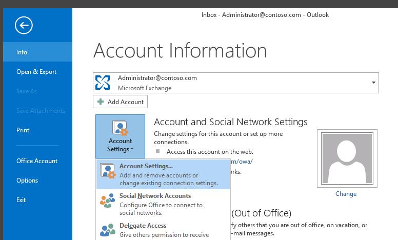Учетные записи Outlook