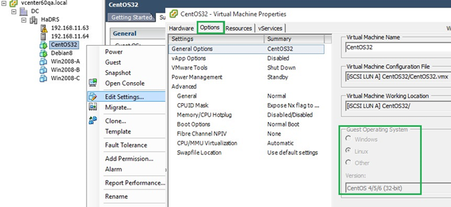 тип ВМ VMWare - CentOS 4/5/6 (32bit)