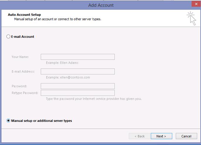 Manual setup or additional server types