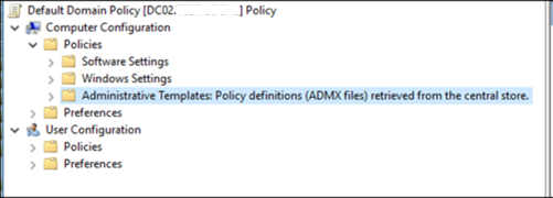 Policy definions (ADMX files) retrieved from central store