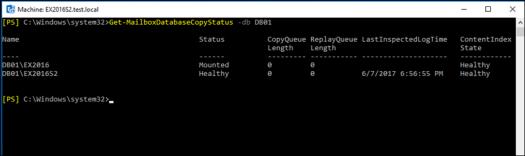 Get-MailboxDatabaseCopyStatus -db DB01