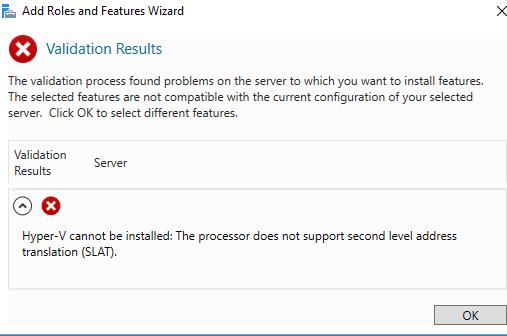 Поддержка SLAT теперь требуется для Windows Server 2016 Hyper V