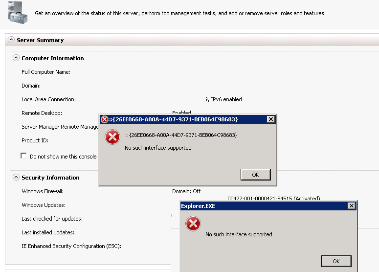 26EEO668-A00A-44D7-9371-BEB064C98683 No such interface supported
