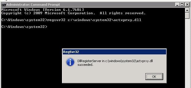 regsvr32 c:\windows\system32\actxprxy.dll
