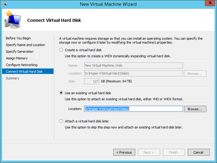 Use an existing virtual hard disk