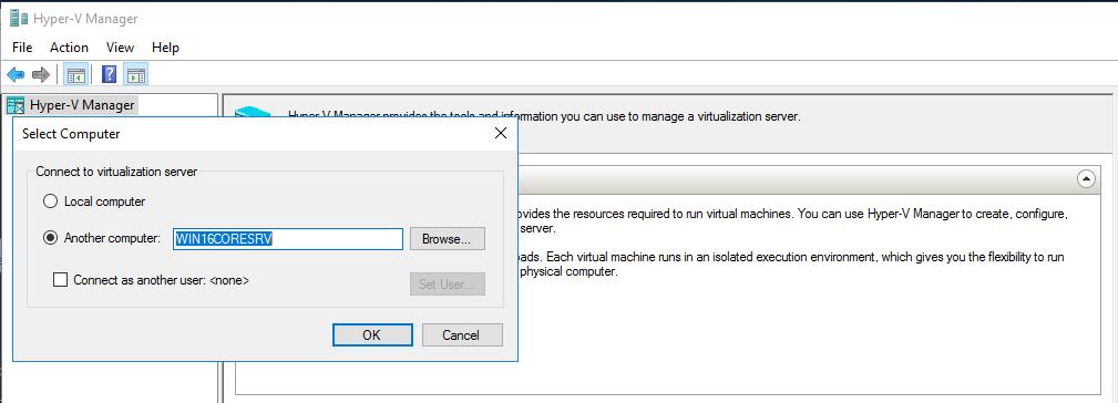 удаленное подключение в Hyper-V Manager
