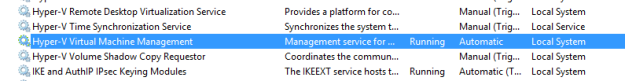 служба Hyper-V Virtual Machine Management
