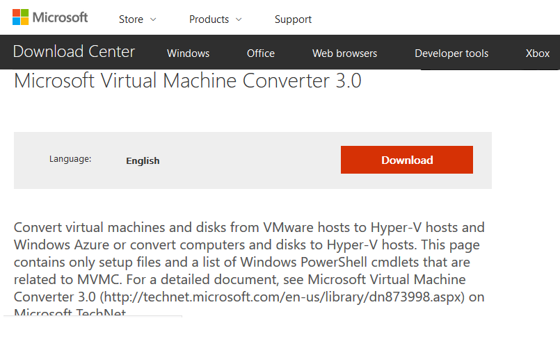 Microsoft Virtual Machine Converter 3.0
