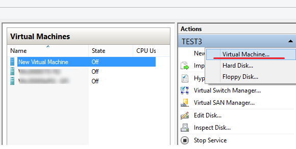New ->Virtual Machine