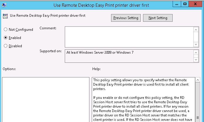 Use Remote Desktop Easy Print driver first