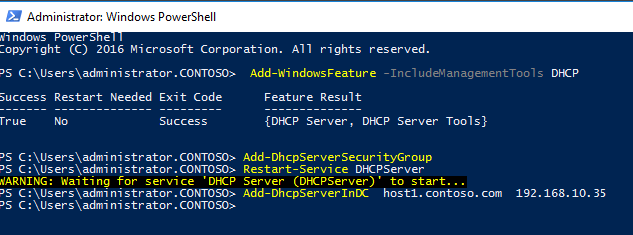 Add-WindowsFeature -IncludeManagementTools DHCP