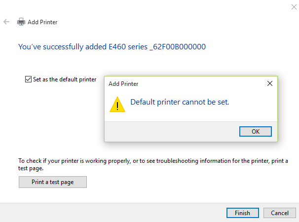 Windows 10 Default printer cannot be set