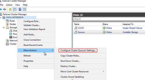 Configure Cluster Quorum Settings