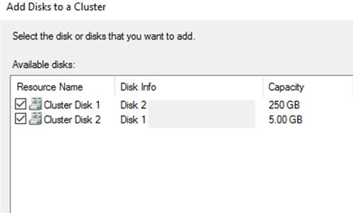 добавить диски в кластер