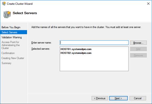 Hyper-V добавить узлы кластера