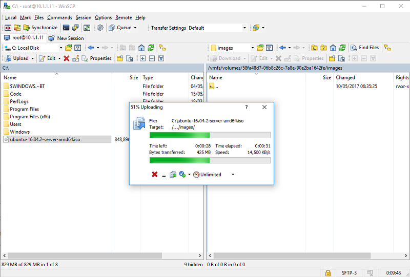 WinSCP копирование файла на хосте ESXi 6.5 по SSH
