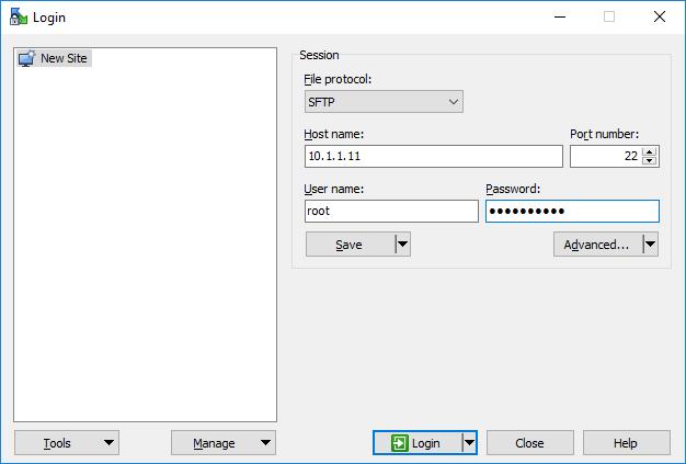 WinSCP подключение к ESXi 6.5 по ssh