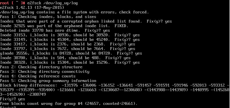 e2fsck -y /dev/log_vg/log