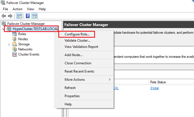 Failover Cluster Manager - Configure Role