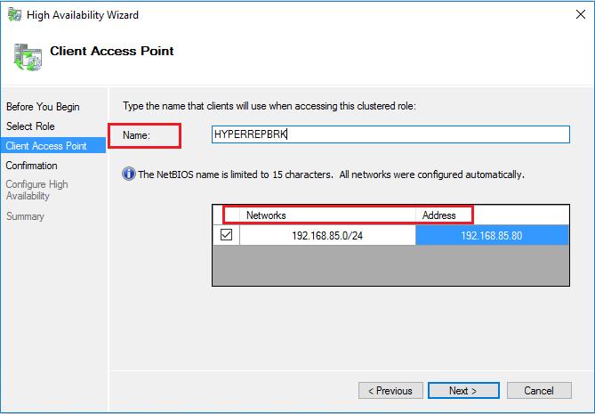 IP адрес и имя роли Hyper-V Replica Broker