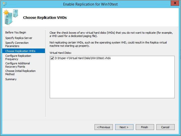указать vhdx файлы виртуальной машины для репликации