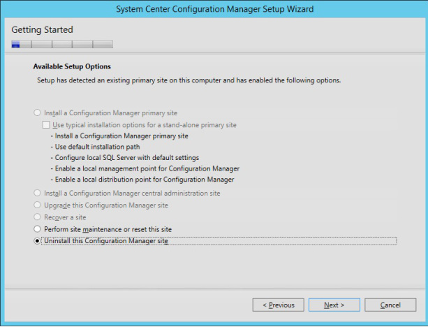 Unistall this Configuration Manager site