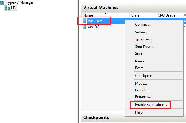 Включить репликация виртуальной машины Windows Server 2016 Hyper-V