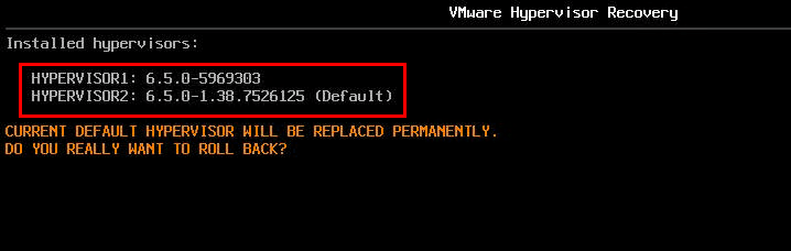 VMware hypervisor recovery