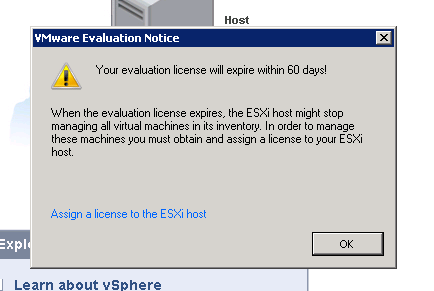 Your evaluation license will expire within 60 days