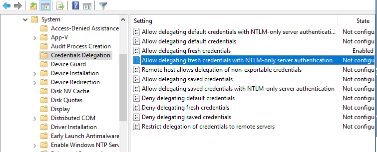 Allow delegating fresh credentials with NTLM-only server authentication