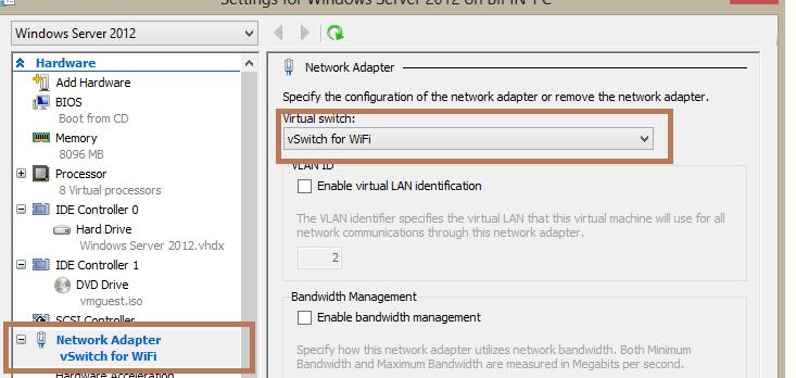 Доступ ВМ в интернет через WiFi подключение