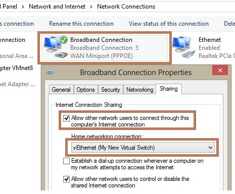 настройка общего доступа к широкополосному подключению в интернет