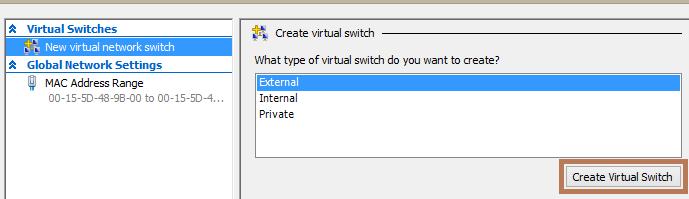 создать новый виртуальный коммутатор hyper-v