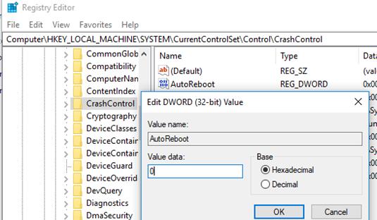 ключ AutoReboot - отключить автоматическую перезагрузку