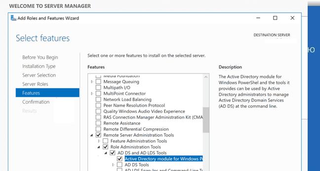 установка Модуля Active Directory для Windows PowerShell