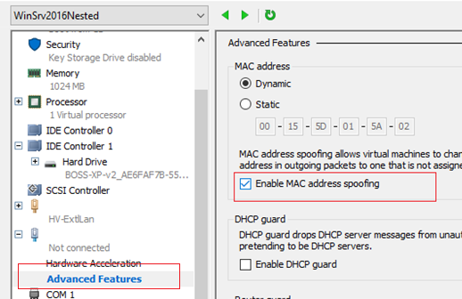 hyper-v разрешить спуфинг mac адресов Enable MAC address spoofing